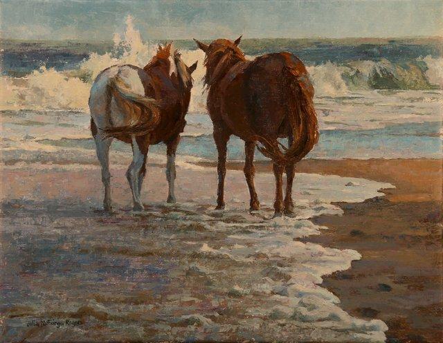 Julia Rogers, Beach Babes, oil at McBride Gallery Cap Gaz.jpg