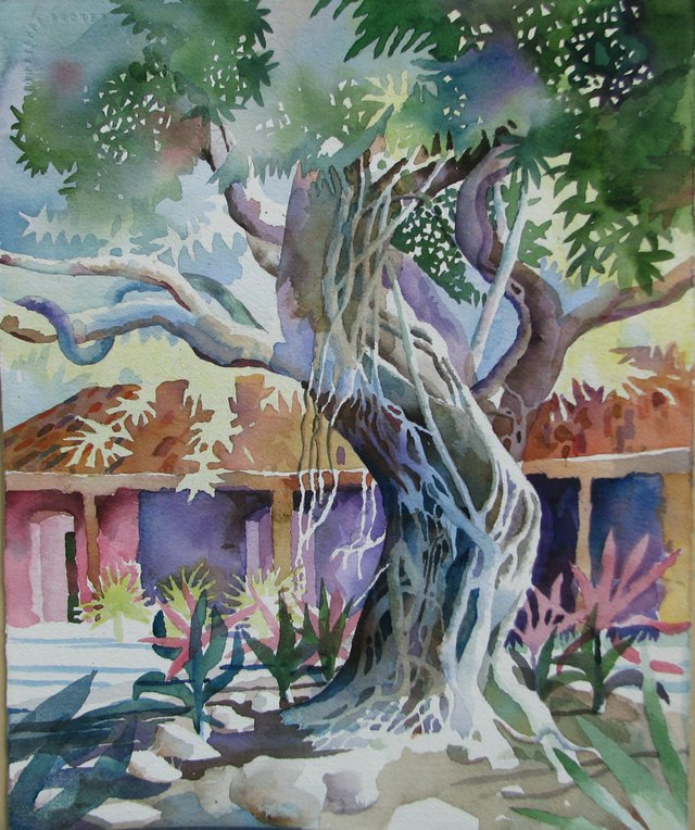 Bob Caffey, The Banyan Tree, Watercolor, Second Act, Quiet Waters Park vs2.jpg